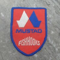 "Mustad Fish Hooks Red White Blue 4"" Advertising Patch Norwegian Fishing"