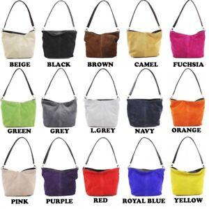 Genuine Italian Suede Leather Medium Size Bucket Style Handbag Shoulder Bag