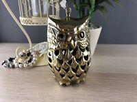 Large Vintage Solid Polished Brass Pierced Owl tealight candle holder gift