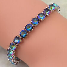 Bracelets in Sterling Silver With 15.25ctw Rainbow Mystic Topaz