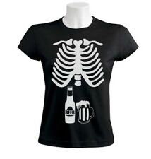 Halloween Easy Costume Funny Beer Skeleton T-shirt Drinking Party Pregnant S
