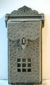 "Vintage -  Gray Metal Cast Wall Mount Mailbox - 12"" x 5"" 1.5"" Deep - Lockable"