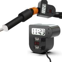 Motorcycle Handlebar Waterproof Dual USB Charger Clock LED Voltmeter Universal