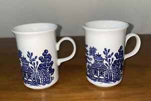 2 Churchill Blue Willow Coffee Mug Vintage Made In England Unused