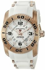 Swiss Legend Mens Rose Gold Steel Case White Strap Quartz Watch 10069-RG-02S-WHT