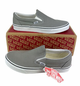 NEW Vans Off The Wall Classic Slip On Skate Mens Shoes Sneakers Gray White Sz 10