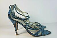 ALDO Blue Snake Print Leather Open Toe Strap Heels Sandals Women's Size 8.5 / 39