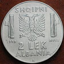 1939  Regno D'Italia  Albania 2 Lek  antimagnetico  spl++