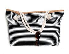 XXL Damentasche Strandtasche Sommer Tasche Badetasche gestreift Schwarz Weiß Neu