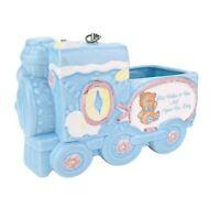 Vintage Baby Train Ceramic Planter Music Box Blue Nursery Plays Brahms Lullaby