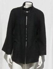 BETSEY JOHNSON Black Soft Boucle Wool Blend Cape Swing Jacket Coat size L XL
