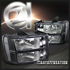 2007-2013 GMC Sierra 1500 2500 3500HD Euro Black Diamond Headlights Pair