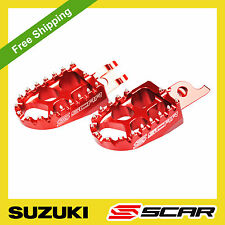 FOOTPEGS EVO SUZUKI RMZ 250 07-09 2008 2009 RMZ 450 05-07 RED FOOT PEGS SCAR