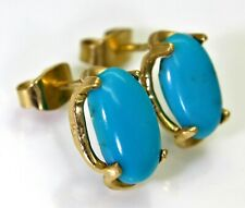 Vintage Egyptian Large Turquoise 18ct Yellow Gold Stud Earrings