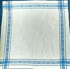 LARGE VINTAGE WHITE AND BLUE COTTON BLEND TABLECLOTH VGC