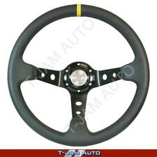 SAAS Leather GT Sports Steering Wheel 350mm Deep Dish w/Yellow Strip NEW