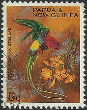 PNG 1967  5c  Christmas Territory Parrots  VFU  (37)  Very clean