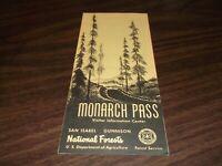 1960's MONARCH PASS SAN ISABEL GUNNISON COLORADO NATIONAL FOREST BROCHURE