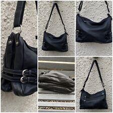 Clarks Black Leather handbag adjustable strap 3 compartments zip fastening used