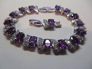 Lovely .925 Sterling Silver Amethyst & Moissanite Gemstone Tennis Bracelet