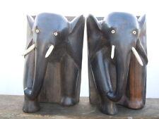Sculpture bois éléphants Serre-livres
