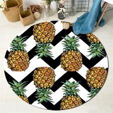 Round Floor Mat Rug Living Room Area Rugs Black & White Chevron Wave Pineapple