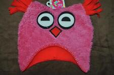 Giggle Baby Girls Owl Beanie Skull Cap Pink/Red Medium 6-12 Months NWT