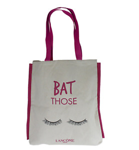 """New Lancome Limited Edition Beige & Pink """"Bat Those Eyes""""  Tote Travel Bag"""