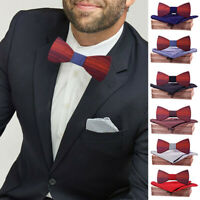Wooden Bow Tie Gift Box Walnut Wood Bow-tie Handkerchief Brooch Cuff-links Kits