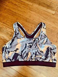Nike Sports Bra Dri-Fit Medium Support Camo Print White Swoosh Women Sz Large