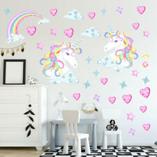 Unicorn Love Hearts Stars Rainbows Clouds Wall Art Stickers Kids Bedroom Decals