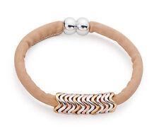 Tan / Beige Nubuck Leather Bracelet Three Tone Rose Gold Silver Zigzag  Charms