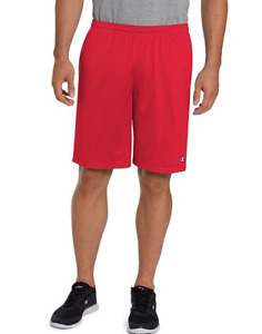 Champion Men's Long Mesh Short 9 Inches With Pockets Style 81622 NEW Crimson Red