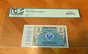 SERIES 472 $.05 FIVE cents Military Payment Certificate MPC PCGS 66 PPQ GEM NEW