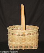 Vintage Style Woven Fiber Basket Garden Gathering Country Kitchen Tool Decor a