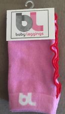 NEW BL Baby Leggings Pink with Red Ruffle Trim for Infant Girl One Size