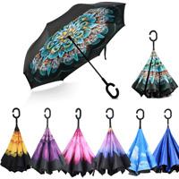 C-Handle Inverted Umbrella Reverse Double Layer Upside Down Folding Windproof