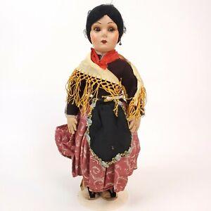 Vintage ETHNIC FOREIGN Folkart Fabric Cloth Ceramic Handmade Composition Doll