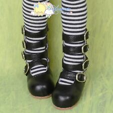 4-Strap Mary Jane Shoes Boots Black For R~Large feet MSD 1/4 BJD Kaye Wiggs Doll