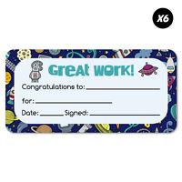 6x Reward Certificate Space School Stationery Sticker Stickers Fun School Dec...
