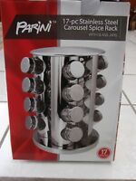 PARINI 17-PIECE STAINLESS STEEL CAROUSEL SPICE RACK W/ GLASS JARS ~ NEW