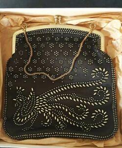 Vintage Opera Bag Black With Gold Beading Peacock Goth Kisslock Chain Fleur