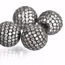 1 Gunmetal Black Micro Pave' Round Bead w/ Cubic Zirconia Crystals, 12mm bme0420
