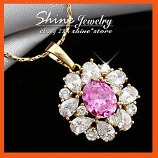 18K GOLD GF P219 VINTAGE DIAMOND RUBY CRYSTAL CLUSTERS SOLID NECKLACE PENDANT