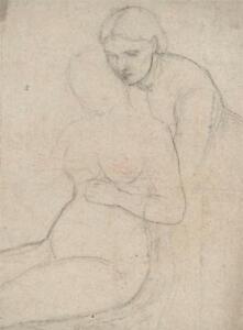 ELMA MARY GOVE (1832-1921) - Pencil Drawing 2 FEMALES PORTRAIT - AMERICAN ARTIST