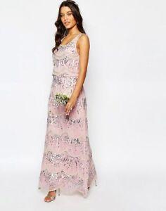 BIG SALE Maya Chiffon Maxi Dress with Embellishment Crystal Pink UK14 RRP£125