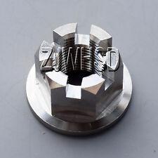 M14 x 1.5 Titanium Ti Hex Flange Slotted Castle Nut / Motorcycle Wheel Axle Hub