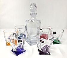 Crystal Glasses Whiskey Set Decanter 28 oz and 6 Tumblers 11 oz Bohemian Crystal