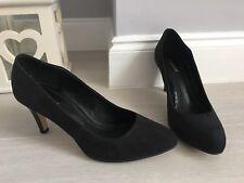 Monsoon Black Faux Suede High heel Court Shoes Sz 7 Vegan Career
