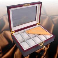 10 Slot Ebony Wood Watch Box Display Case Glass Top Jewelry Storage Organizer